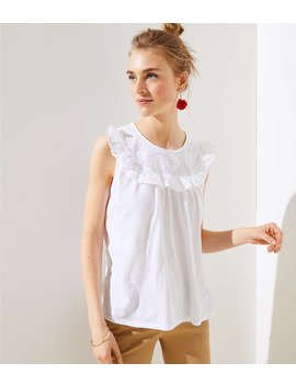 Floral Ruffle Sleeveless Tee by Loft