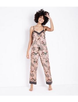 Selina Mid Pink Floral Satin Pyjama Trousers         Selina Mid Pink Floral Satin Pyjama Cami Top         Selina Mid Pink Floral Satin Robe by New Look