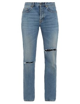 Logo Embroidered Slim Fit Jeans by Saint Laurent