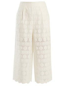 Kali Daisy Embroidered Wide Leg Cotton Culottes by Zimmermann