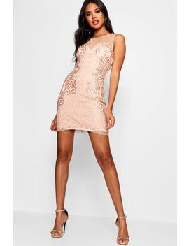 Boutique Tana Grid Embellished Bodycon Dress by Boohoo