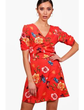 Francesca Floral Ruched Sleeve Tea Dress by Boohoo