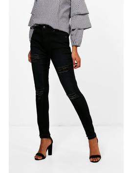 Katie Cheeky Rip High Rise Skinny Jeans by Boohoo