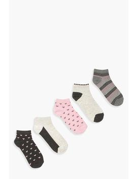 Mol 5 Pack Heart And Glitter Trainer Socks by Boohoo