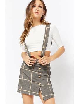 Ribbed Top & Plaid Suspender Skirt Set by Forever 21