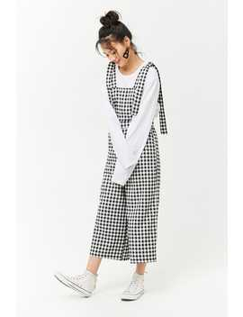 Gingham Tie Strap Overalls by Forever 21