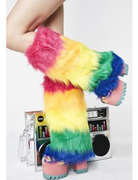Technocolor Trippin' Fuzzy Boot Covers by Music Legs