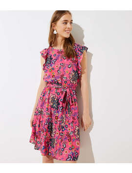 Petite Mixed Floral Tie Flutter Dress by Loft