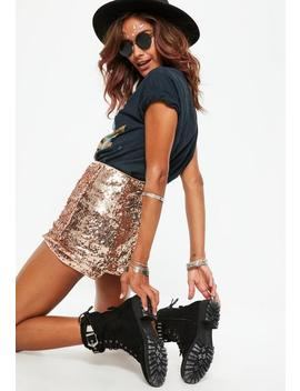 Tall Rose Gold Sequin Shorts by Missguided