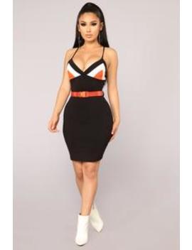 Buckled In Belted Dress   Black/Orange by Fashion Nova