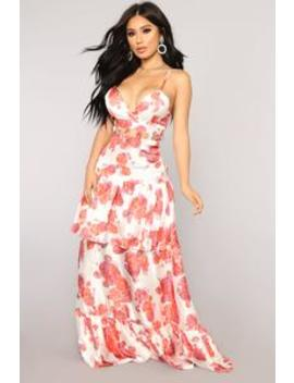 Baile Rose Dress   White/Combo by Fashion Nova