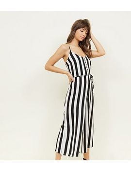 Black Stripe Button Front Culotte Jumpsuit by New Look