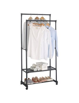 Woltu Heavy Duty Clothes Garment Rack Double Rail Clothing Coat Rack 2 Tiers Shoe Rack With Wheels Black by Woltu