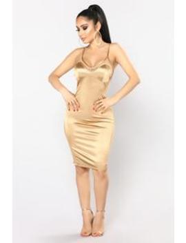 Party Go Satin Dress   Gold by Fashion Nova