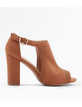 Tan Comfort Flex Cut Out Peep Toe Heels by New Look