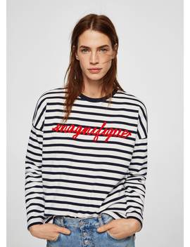 Sweatshirt Met Geborduurde Boodschap by Mango