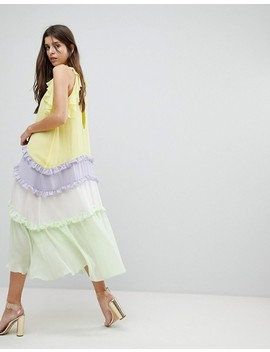 Three Floor Tiered Midi Dress With Frill Detail by Three Floor