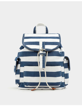 Navy Blue Fabric Backpack by Pull & Bear