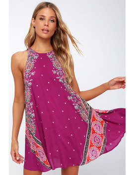 Darjeeling Magenta Print Sleeveless Slip Dress by Free People