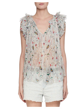 Erell Sleeveless Sheer Printed Silk Blouse by Neiman Marcus