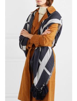 Pom Pom Frayed Wool, Silk And Cashmere Blend Scarf by Chloé