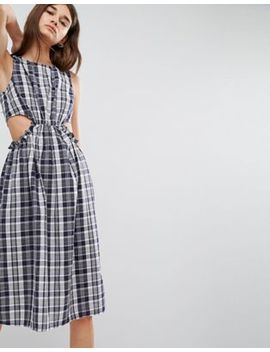 Asos – Kariertes Midikleid Mit Zierausschnitten by Asos Collection