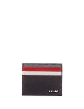 Saffiano Surf Colorblock Leather Card Case by Prada