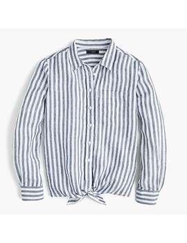 Petite Tie Front Linen Shirt by J.Crew