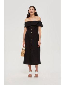 Linen Bardot Midi Dress by Topshop