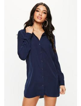 Navy Basic Shirt Dress by Missguided