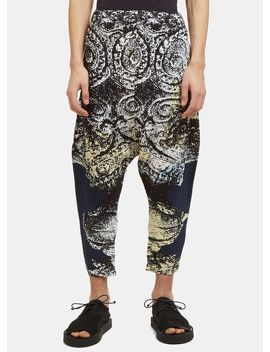 Plissé Dropped Crotch Pants In Navy by Homme Plissé Issey Miyake
