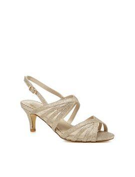 Debut   Gold Glitter 'dinkle' Mid Kitten Heel Ankle Strap Sandals by Debut