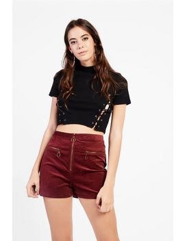 **Corduroy Zip Detail Shorts By Glamorous by Topshop