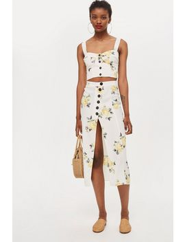 **Floral Button Split Skirt By Nobody's Child by Topshop