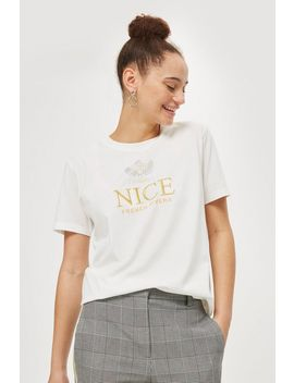 'nice' Embroidered T Shirt By Tee & Cake by Topshop
