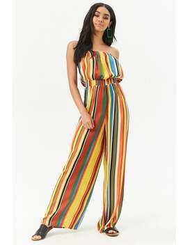 strapless-multi-striped-jumpsuit by forever-21