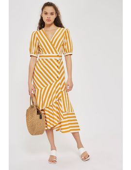 Cutabout Stripe Ruffle Midi Dress by Topshop