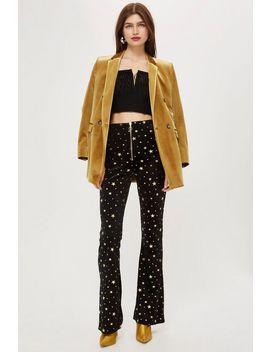 Star Velvet Flared Trousers by Topshop