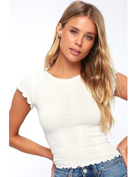 Secret Love White Ribbed Cropped Tee by Billabong