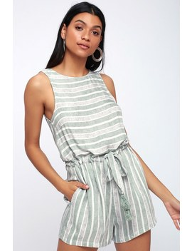 Pure Shores Green And Grey Striped Romper by Minkpink