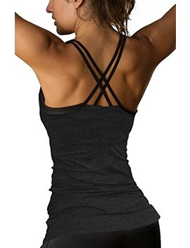 Icyzone Women Workout Yoga Spaghetti Strap Racerback Tank Top With Built In Bra by Icyzone