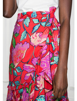 Floral Ruffle Midi Skirt by & Other Stories