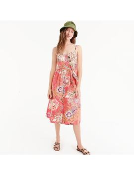 Classic Button Front Sundress In Cotton Poplin Paisley by J.Crew