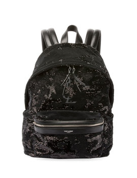 Mini City Paillette Embroidered Backpack, Black by Saint Laurent
