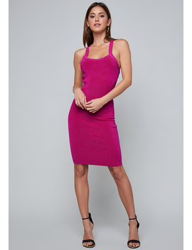 Strappy Back Ribbed Dress by Bebe