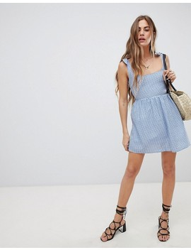Emory Park Sun Dress With Tie Shoulders In Mini Gingham by Emory Park