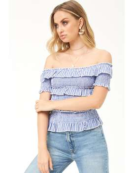 Tee Ink Linen Striped Smocked Top by Forever 21