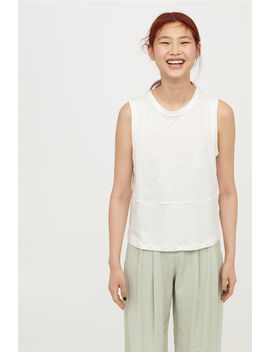 Linen Blend Jersey Vest Top by H&M