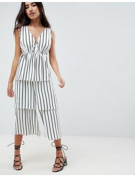 Asos Design Stripe Tiered Leg Jumpsuit by Asos Design