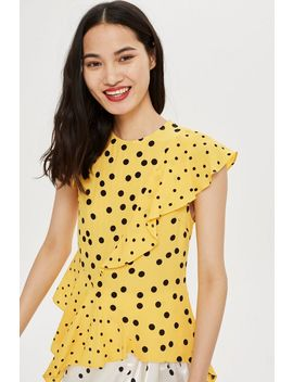 Mixed Spot Print Asymmetric Blouse by Topshop